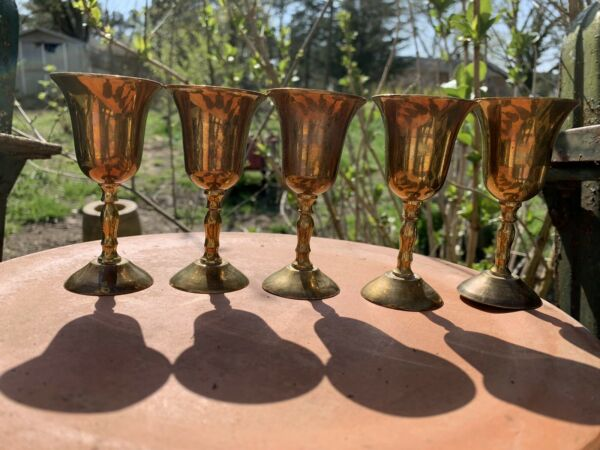 Vintage Brass Cordial Goblets Made In India