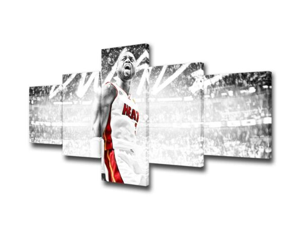 5 Pcs Black and White Canvas Paintings Printed NBA Miami Heat Wall Art Canvas... $73.48
