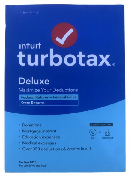 Intuit TurboTax Deluxe 2020 Federal And State FACTORY SEALED