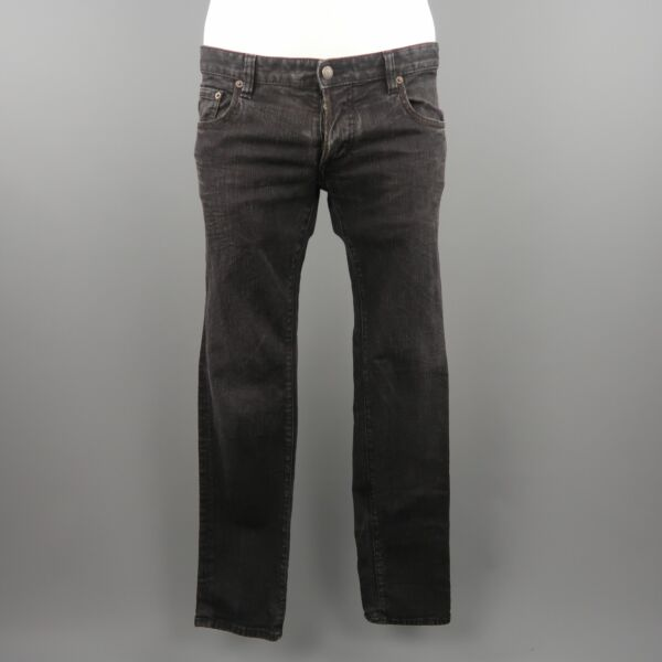 DSQUARED2 Size 34 50 IT Black Washed Low Rise Skinny Denim Jeans $225.00