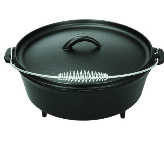 Cast Iron Pot Dutch Oven 5 Quart with Handle Classic Camping Cookware