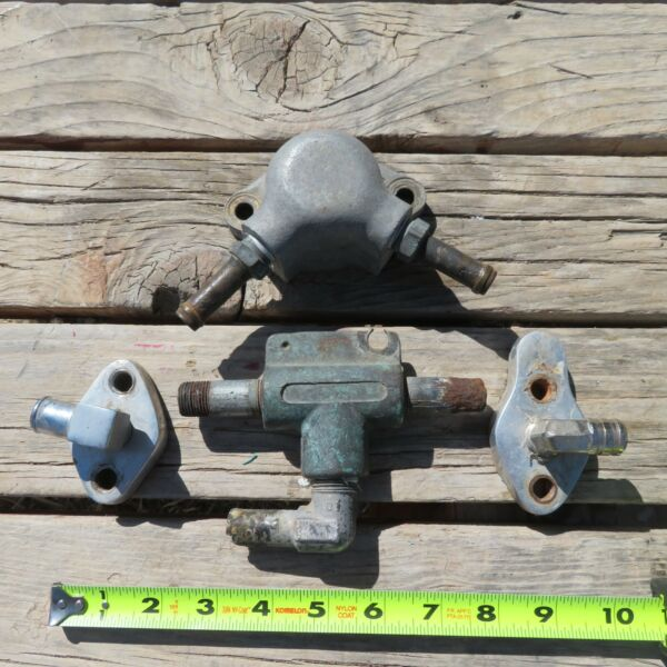 Vintage Glenwood Marine SBC Exhaust Plumbing Thermostat Housing Waterpump Block