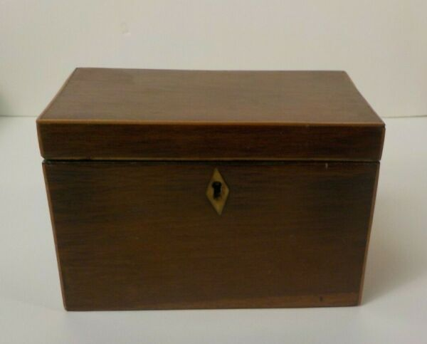 19th C. English Banded Walnut Double Compartment Tea Caddy Box