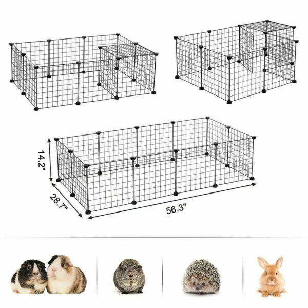 Portable 14quot; Metal Dog Cat Playpen Crate Animal Fence Exercise Cage W Door 12Pcs $20.69