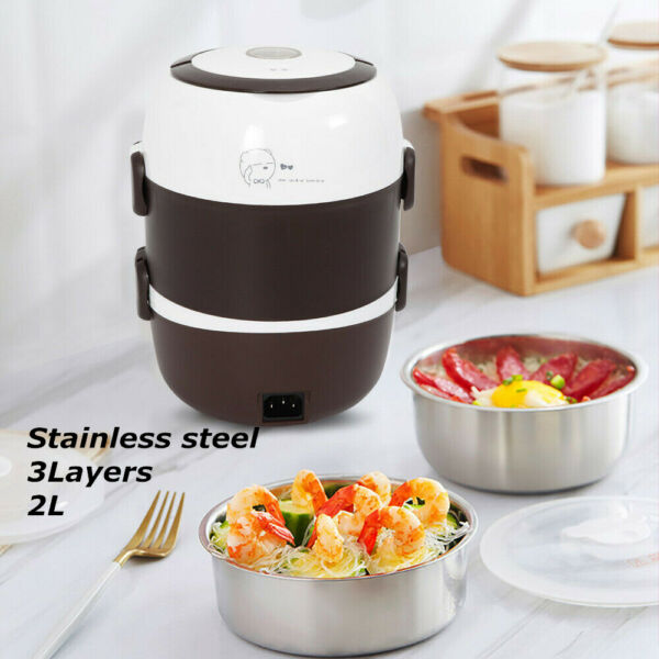 3 Layer Portable Electric Lunch Box Stainless Food Warmer Container Storage 200W