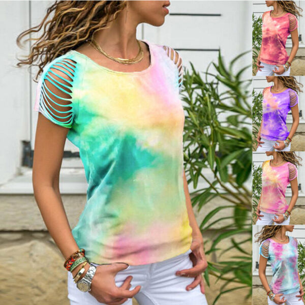 Womens Casual Stretch Blouse Tie dye Off the shoulder Short sleeved Tops T shirt $15.14