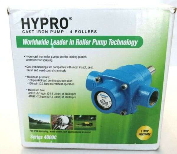 HYPRO Cast Iron 4 Roller Pump #4101C with 5 8quot; Solid Shaft 7.2 GPM 150 PSI $99.95