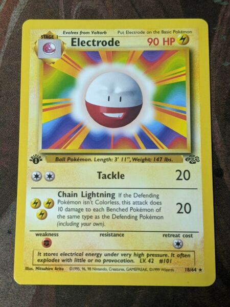 Electrode Error Card Jungle 18 64 1st Edition Base Set Art Near Mint Pokemon $35.00