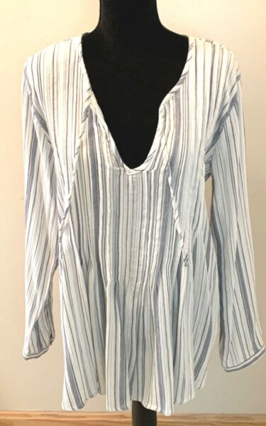 ANA GAUZE STRIPE LONG TOP SHIRT SIZE M BLUE STRIPE