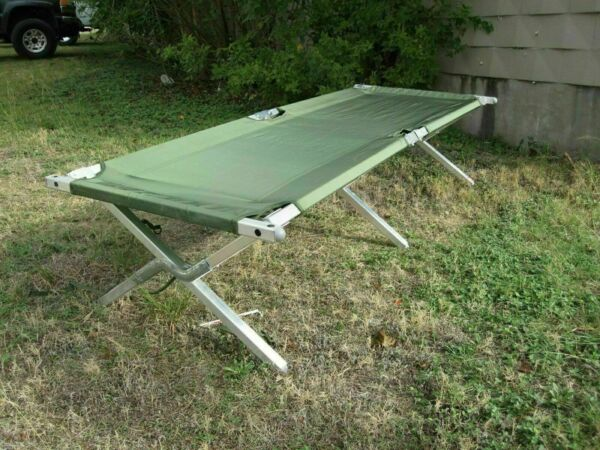 USGI MILITARY CAMPING COT HEAVY DUTY FRAME SLEEPING BED OD GREEN FOLDING New