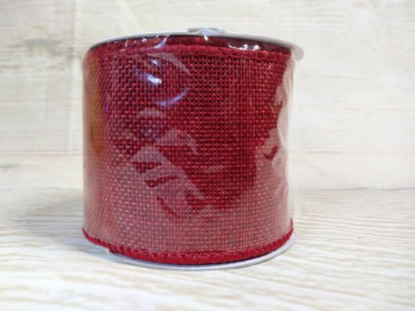 NEW RED Faux Burlap Ribbon 2.5quot; x 9 FT Wired Farmhouse Crafts July 4th Christmas
