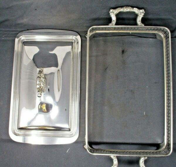 Vintage Oneida Silverplate Lion Footed Buffet Chafing Stand Holder w Lid