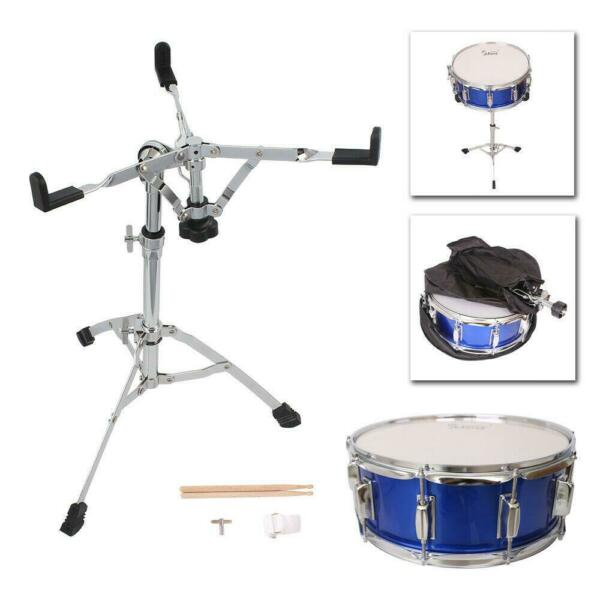 New Blue Snare Drum Poplar Wood Drum 14 x 5.5quot; with Drumsticks Bag amp; Stand