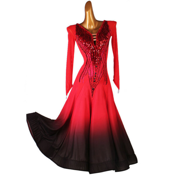 NEW Latin Ballroom Dance Dress Modern Salsa Waltz Standard Long Dress#F634 Red