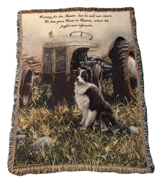 BORDER COLLIE Dog Tractor Tapestry Afghan Throw Blanket Waiting On Master Signed $59.95
