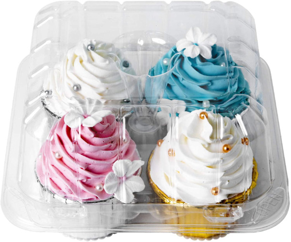 Clear Cupcake Boxes 4 Cavity HolderONE MORE Large 4 Compartment Muffin Containe