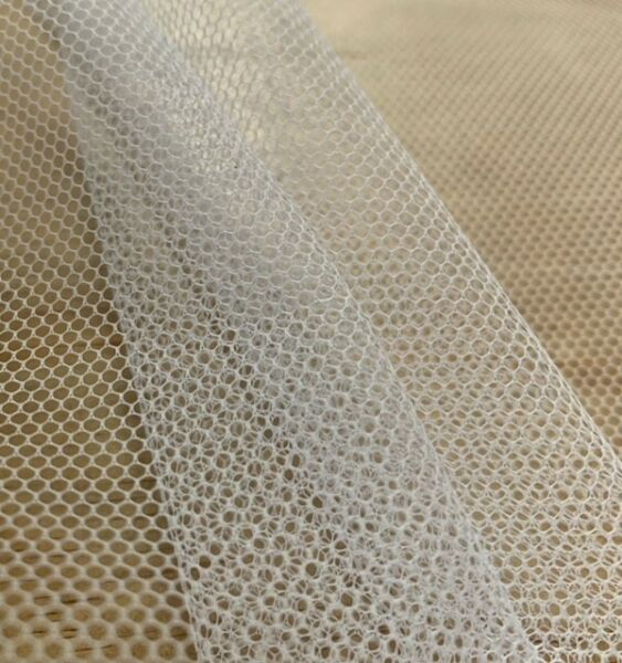 58 60quot; White Hard Net Crinoline Fabric By The Yard 100% Polyester $4.99