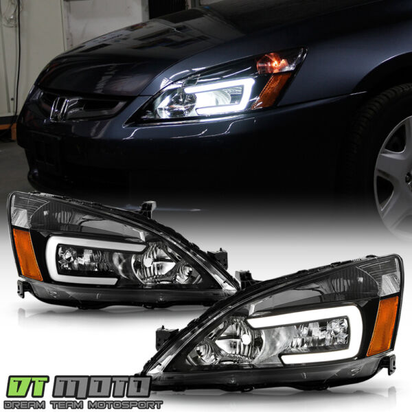 For 2003 2007 Honda Accord Black LED Tube Headlights Headlamps Pair LeftRight