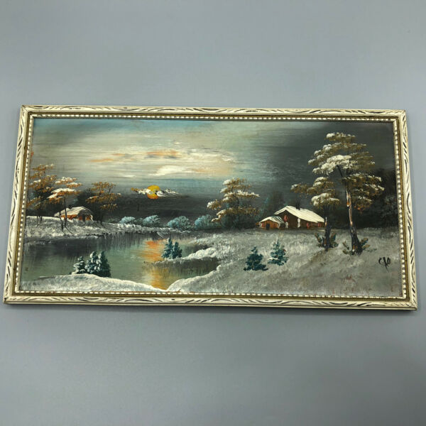 Antique Vintage Small Painting on Board of Beautiful Winter Scene Lake amp; Cabin