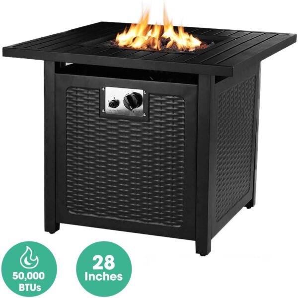 28quot; Outdoor Propane Fire Pit Patio Gas Table Square Fireplace 50000BTU US