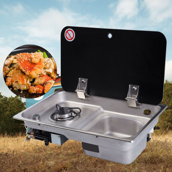 GR 903 Boat Caravan RV Camper Burner Gas Stove Hob Sink Combo Foldable Black US