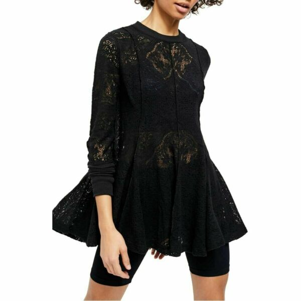 Free People Women#x27;s Coffee In The Morning Top Black Size S