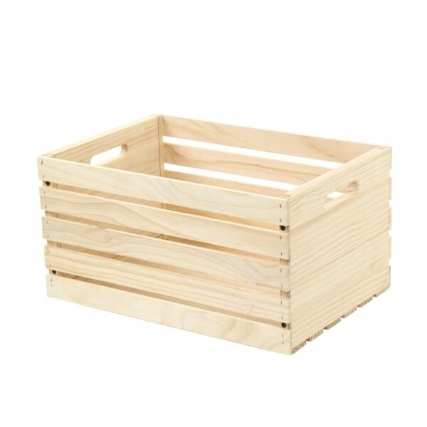 Set of 3 Large Wood Storage Crate Rustic Wooden Box Unfinished Pine