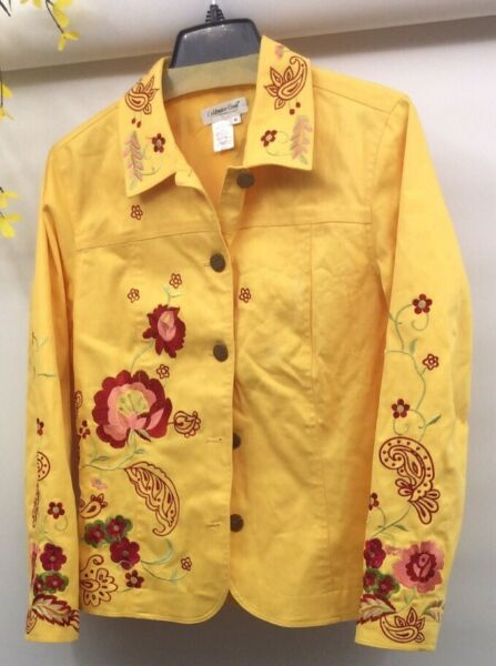 Coldwater Creek Women#x27;s Embroidered Floral Yellow Mult color Jacket Size M EUC