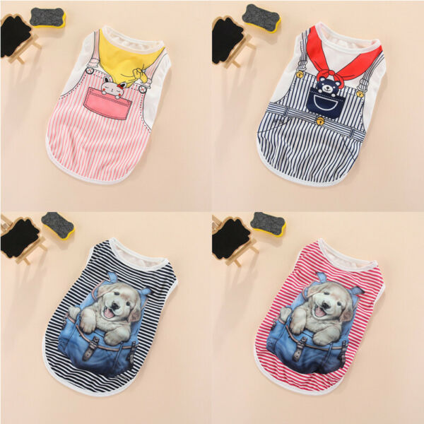 New Cartoon Small Dog Vest Puppy Clothes Breathable Thin Vest Pet Cat Apparel $5.99