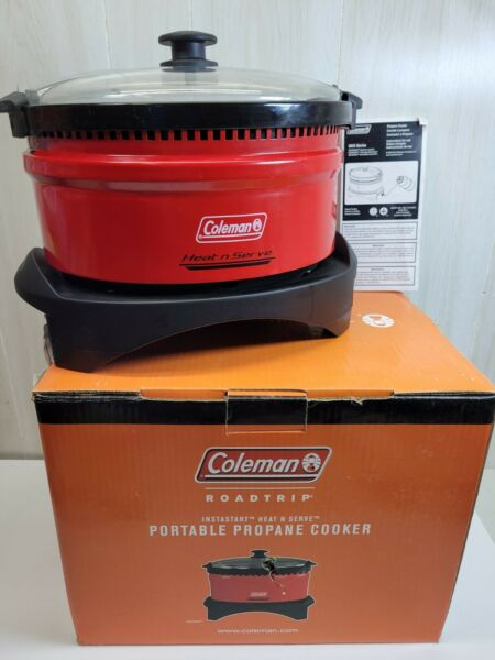 Coleman Heat N Serve Portable Red Propane Slow Cooker Crock Pot R V Camping $59.99