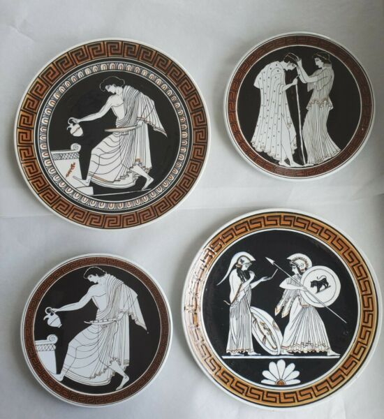 Vintage 4 Decorative Greek Plates 9quot;amp; 12quot; Hand Made In Greece