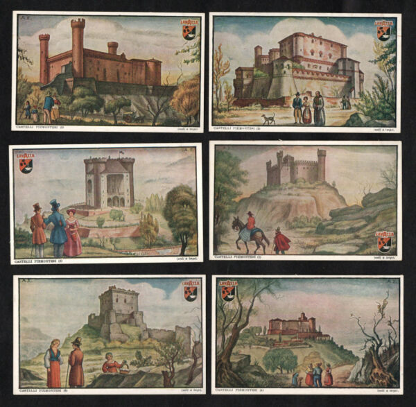 Castles Of Piedmont Italy Lavazza Coffee Card Set 1949 Castello Chateaux Fort
