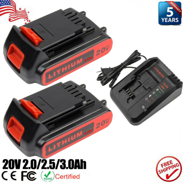 For Black and Decker 20 Volt MAX Lithium Battery LBXR20 LB20 Fast Charger NEW