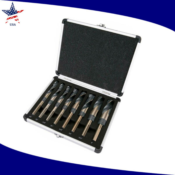 8PC HSS Cobalt Silveramp;Deming Drill Bits Set Large Size 9 16quot; to 1quot; Reduced 1 US