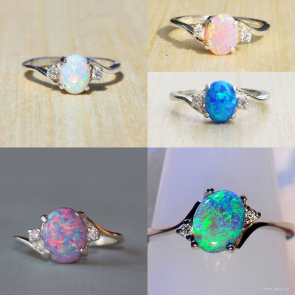 Exquisite Women 925 Silver Wedding Oval Cut Opal Rings Jewelry Size 6 10
