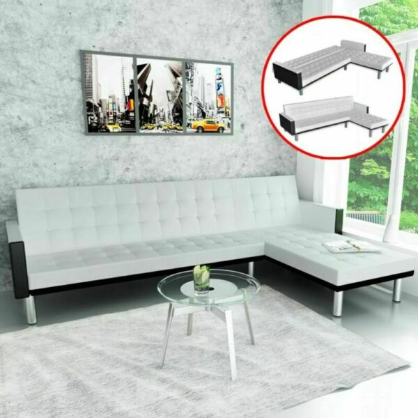 Modern Faux Leather Sofa Bed L shape Fold Up Down Recliner Couch Lounge Seating $458.00