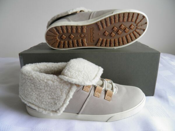 TIMBERLAND Women's DAUSETTE Fleese Fold Down Taupe NUBUCK BOOTS Size 9.5 $49.00