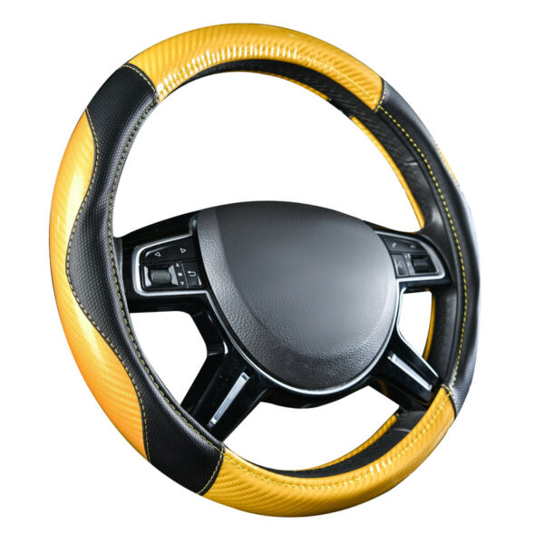 Universal Carbon Grain with PU Leather Car Auto Steering Wheel Cover Yellow 15#x27;#x27; $16.99