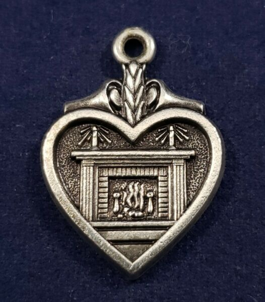 Betty Crocker Fireplace Hearth Heart 925 Vintage Sterling Silver Bracelet Charm