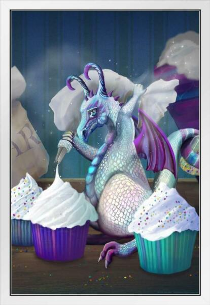 Baby Cupcake Dragon by Rose Khan White Wood Framed Poster 14x20