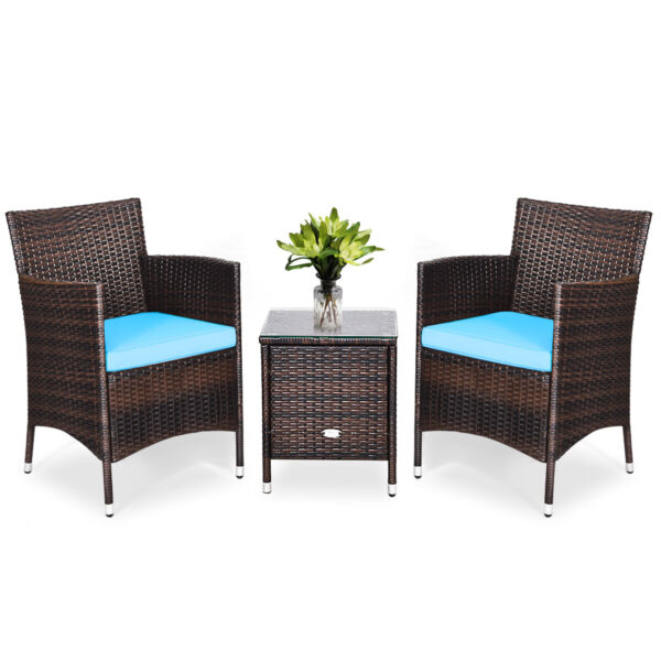 Outdoor 3 PCS Rattan Wicker Furniture Set with 2 Chairs Coffee Table Turquoise