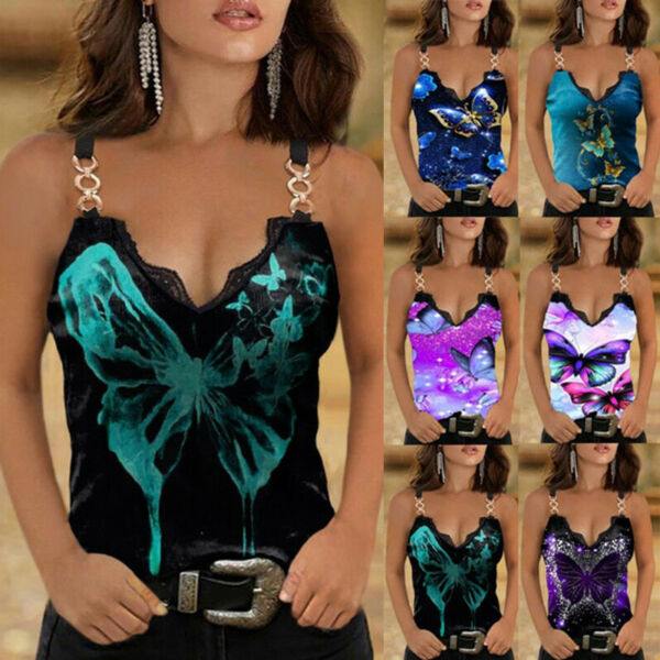 Summer Womens Casual Floral Blouse Lace V Neck Sleeveless T Shirt Sling Tank Top $12.49