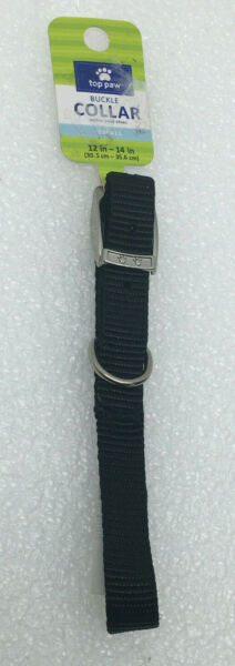 Top Paw Buckle Dog Collar 12quot; 14quot; Small Black Nylon NEW $8.99