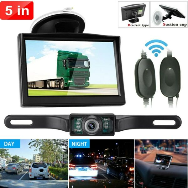 Backup Camera Wireless Car Rear View HD Parking System Night Vision 5quot; Monitor