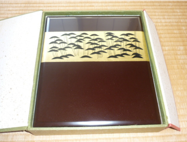Antique box Wooden lacquer ware Document holder with box