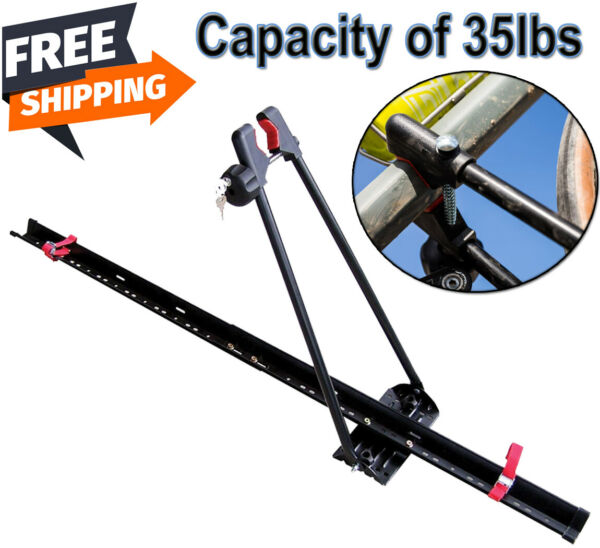 Bike Rack For Car Single Bicycle Carrier Trailer Lockable Upright Roof Mount $55.94