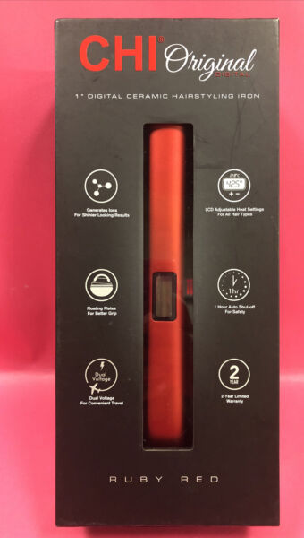 CHI Original Digital Ruby Red Ceramic Hairstyling 1quot; Iron Floating Plates Upc 88 $48.00