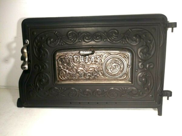 Fancy Antique Imperial Clarion Cast Iron Wood Stove Oven Door Black Very Clean $125.00