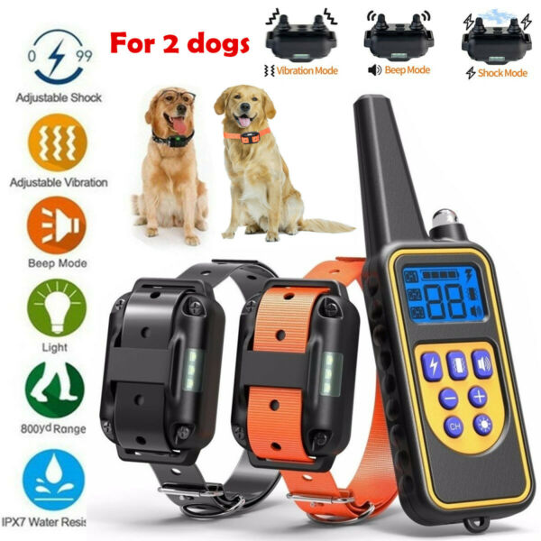 2 Collar Set 2600 FT Remote Dog Shock Training Rechargeable Waterproof LCD Pet $36.91