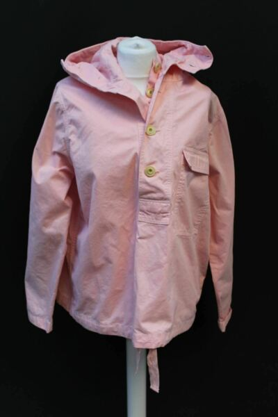 ALBAM Ladies Pink Cotton Gunny Smock Hooded Long Sleeve Button Up Coat Small NEW